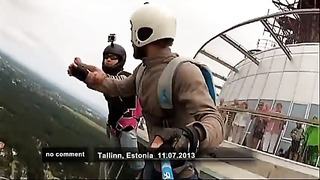 Base jumping from Estonia's TV tower in Tallinn no comment