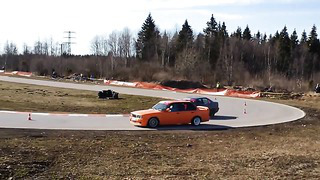 BMW E36 vs BMW E30 TANDEM DRIFT Tabasalu, Estonia 2013