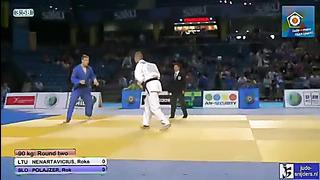 Judo 2013 European Championship Cadets Tallinn_ Nenartavicius (LTU) - Polajzer (SLO) [-90kg]