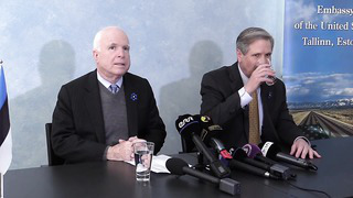 Senator John McCain and Senator John Hoeven press conference in Tallin