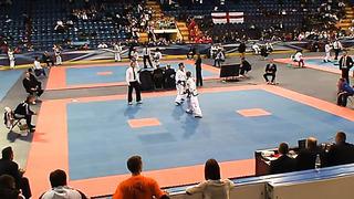 Olga Borisenko (Blue), Fight 2, Round 1,European Taekwondo ITF Championship, Minsk 2014
